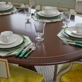 Dining room table set for six
