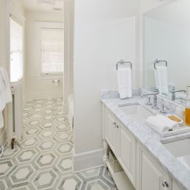 Bathroom with marble countertops