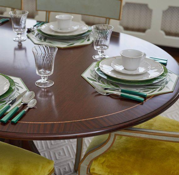 Dining room set for breakfast