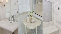 Bathroom pedestal sink, table with white rose, and tiled shower