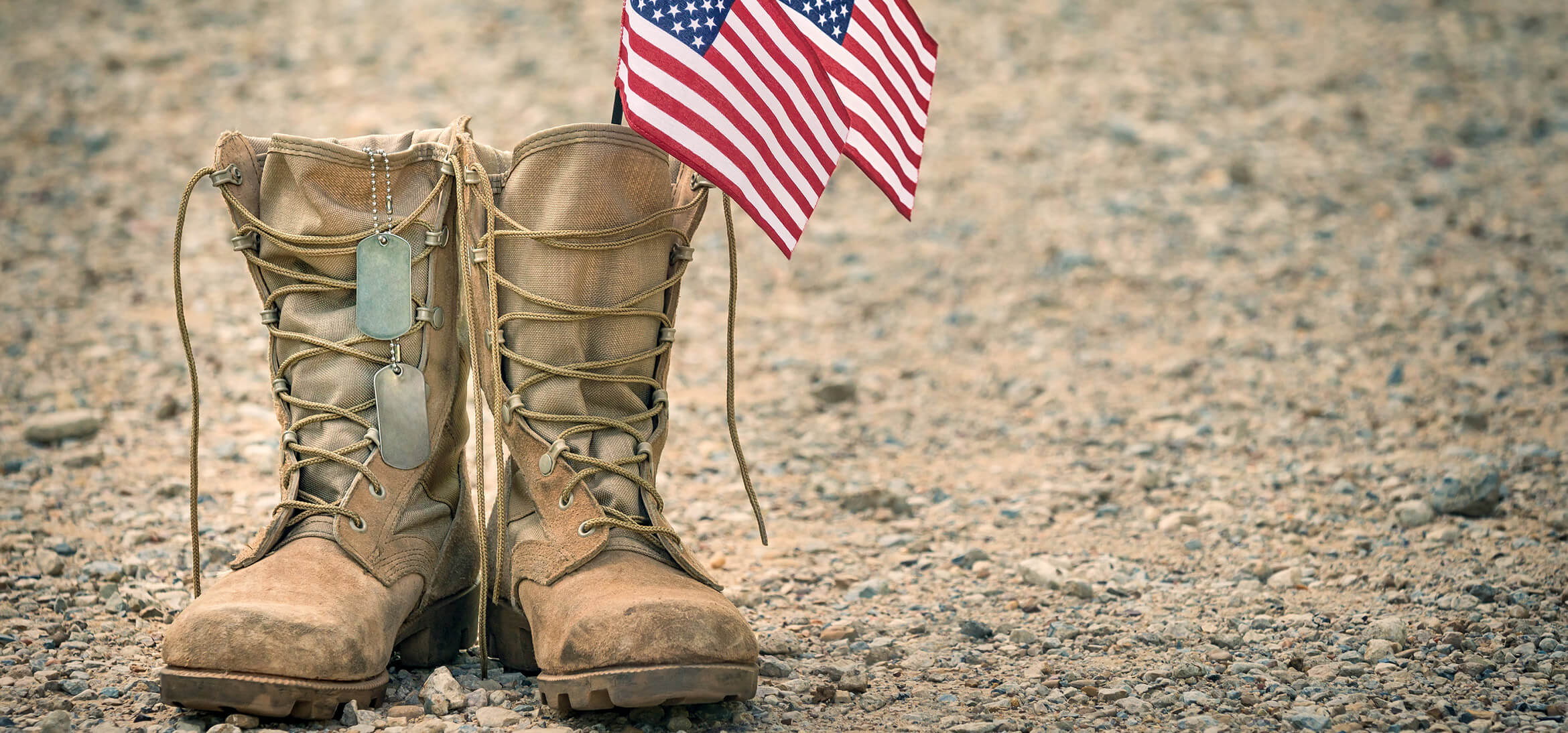 Combat boots with American flags