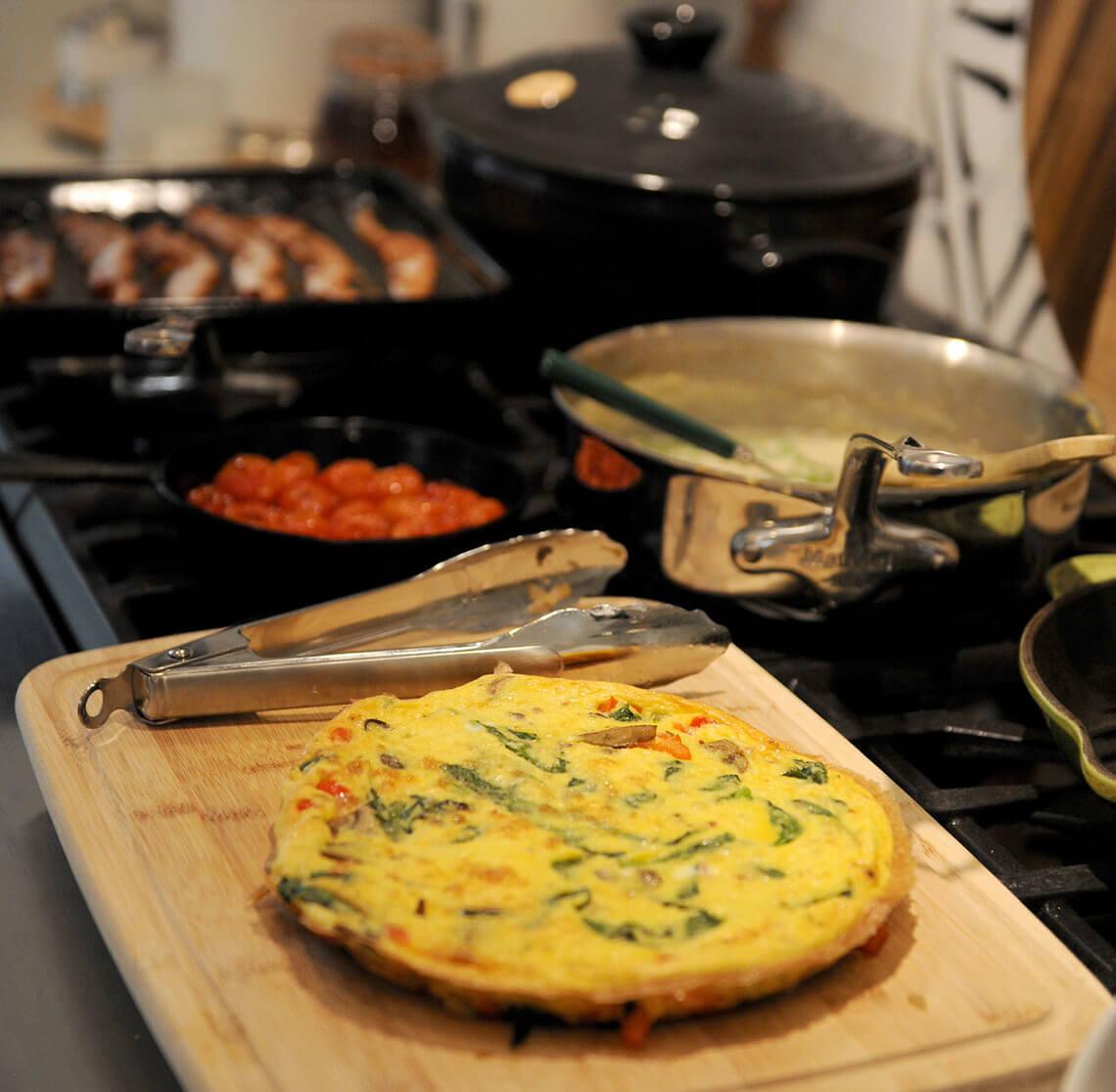 Breakfast being prepared in the kitchen