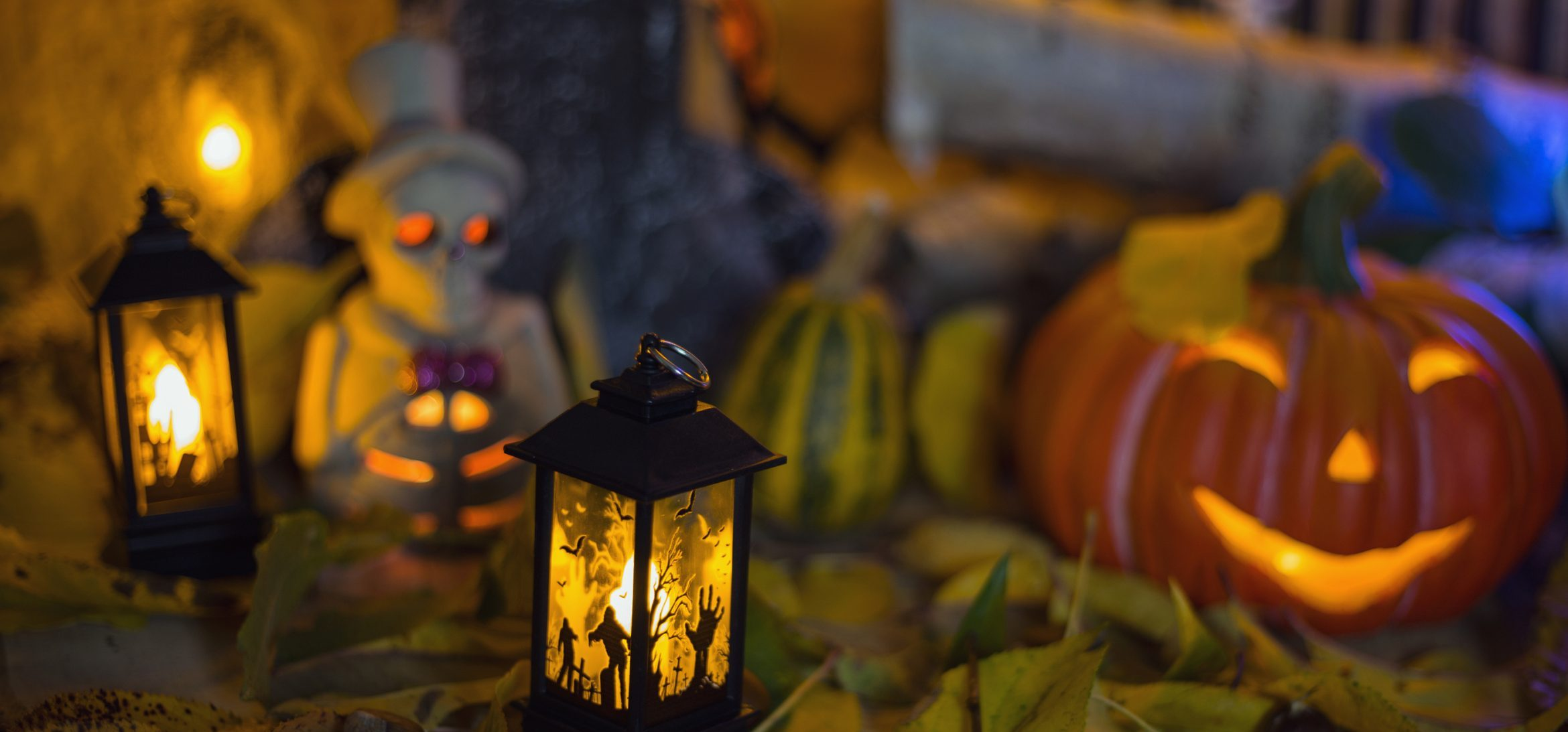 carved pumpkins and halloween lights
