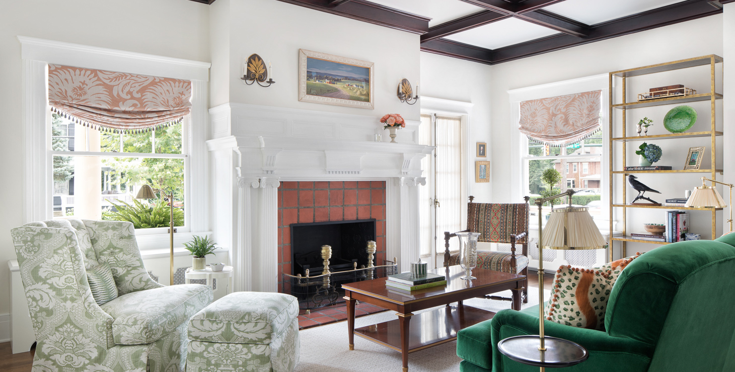 Large interior room with seating area and fireplace